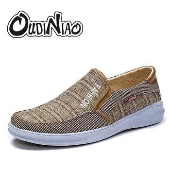 3f03d4f0 OUDINIAO hombres zapatos de lona resbalón en luz zapatos casuales de los  hombres del dedo del pie redondo zapatillas de hombre calzado sólido  transpirable ...