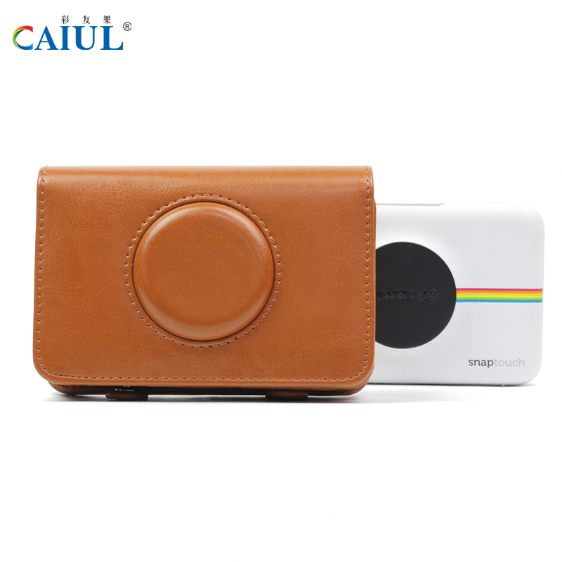 Brown PU Leather Case Bag Outdoor Daily Life Waterproof Case for Polaroid Snap Touch Instant Print Digital Camera Free Shipping