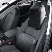 MALUOKASA 1Set Car Neck Pillow Seat Back Support Cushion Memory Foam Seat Cover Interior Headrest Waist