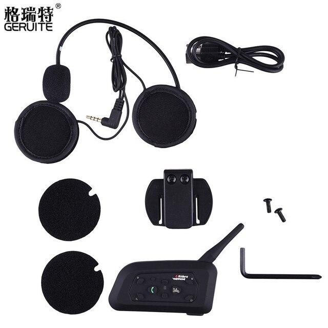 GERUITE V6 1200 M Casco de La Motocicleta Interphone Del Intercomunicador Del Casco de Bluetooth Headset para 6 Riders, precio de 1 unids, 1 a 5 de Intercomunicación