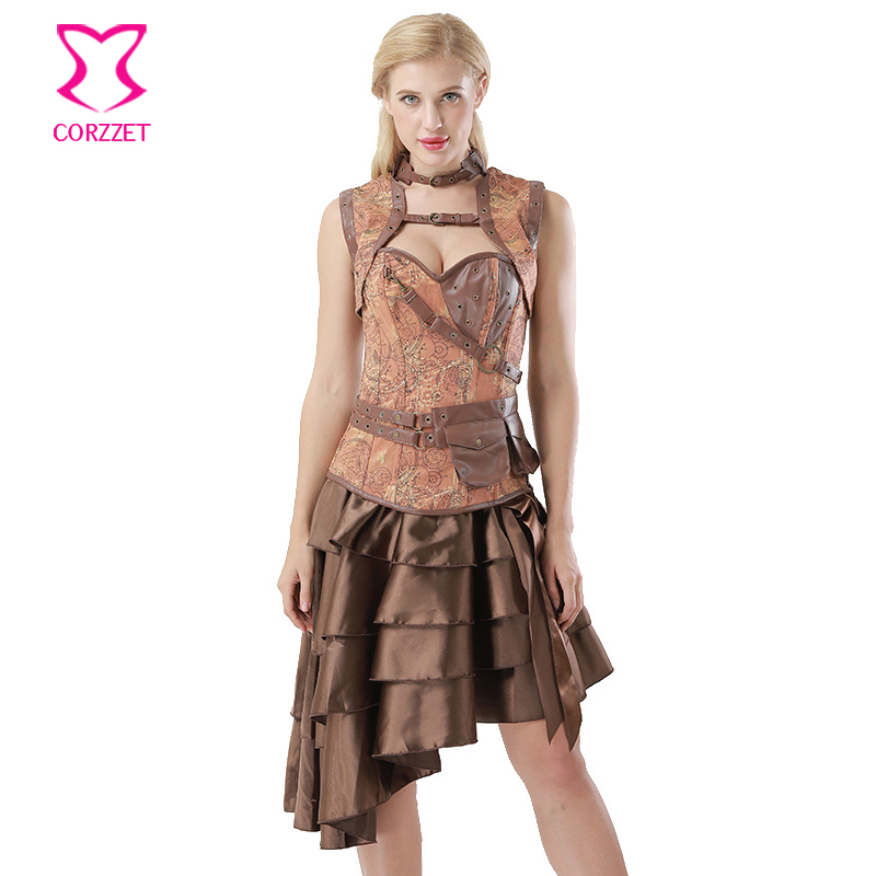 Brown Vintage Print Denim Hot Sexy Gothic Clothing   Corsets   And   Bustiers   Steampunk   Corset   Dress 6XL Plus Size Burlesque Costumes