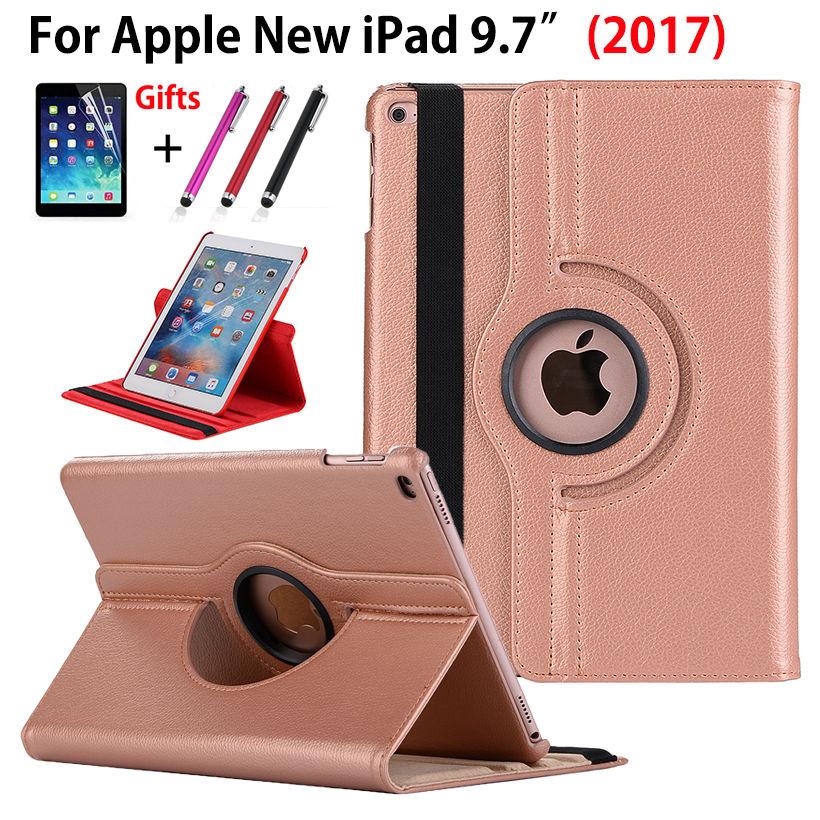 360 Degree Rotating Case For Apple New iPad 9.7 2017 2018 Case Cover Funda Tablet A1822 A1893 PU Leather Stand Shell+Stylus+film new arrival 360 rotating stand flip pu leather case for apple ipad mini 1 2 3 7 9 inch tablet protective cover shell stylus