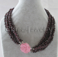 Free shipping@@@@@ Beautiful 186row natural garnet chip necklace cat eye flower GP clasp