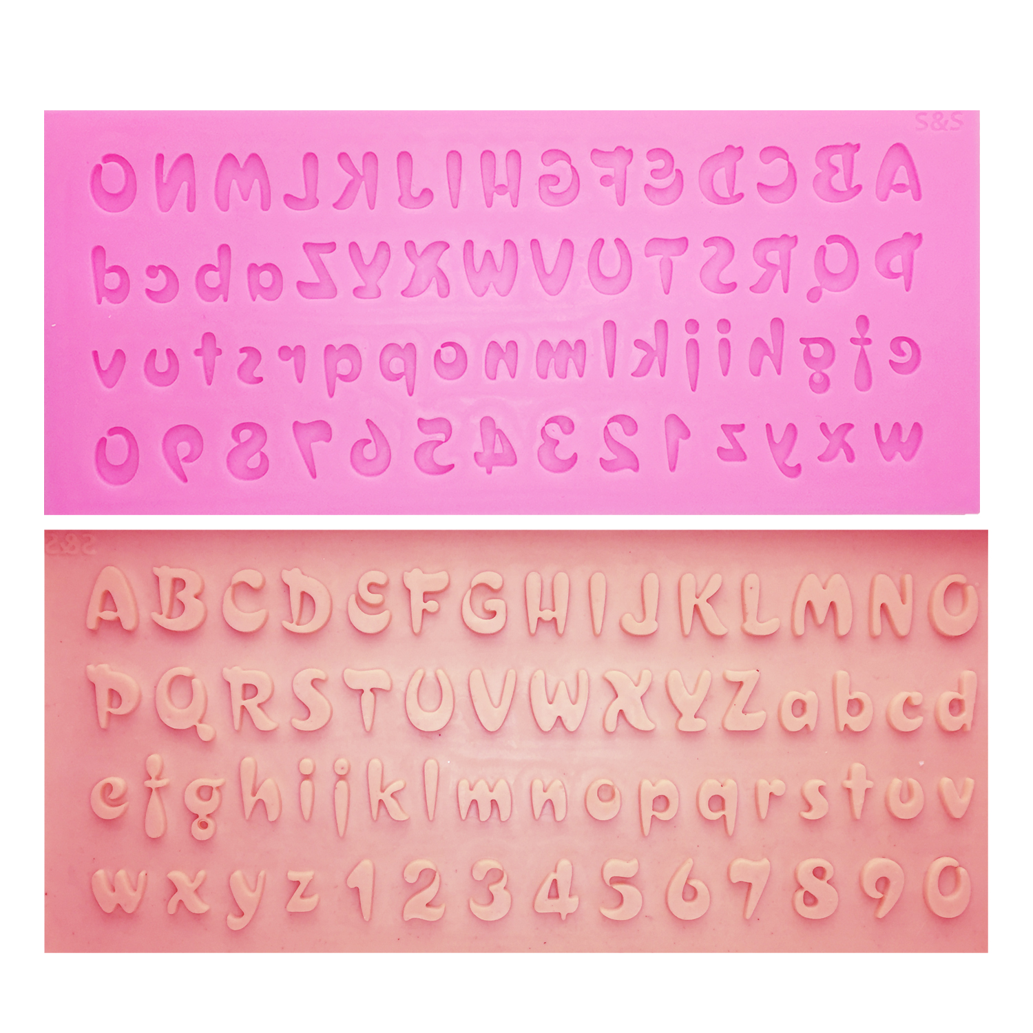 M0726 Alphabet&Number Cake Silicone Mold Letters Fondant Tools Chocolate