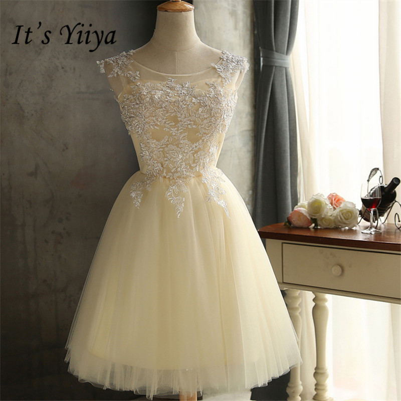 It's YiiYa New Sleeveless Strapless Knee-length   Bridesmaid     Dresses   Elegant Embroidery Back Lace Up A-line   Dress   H107