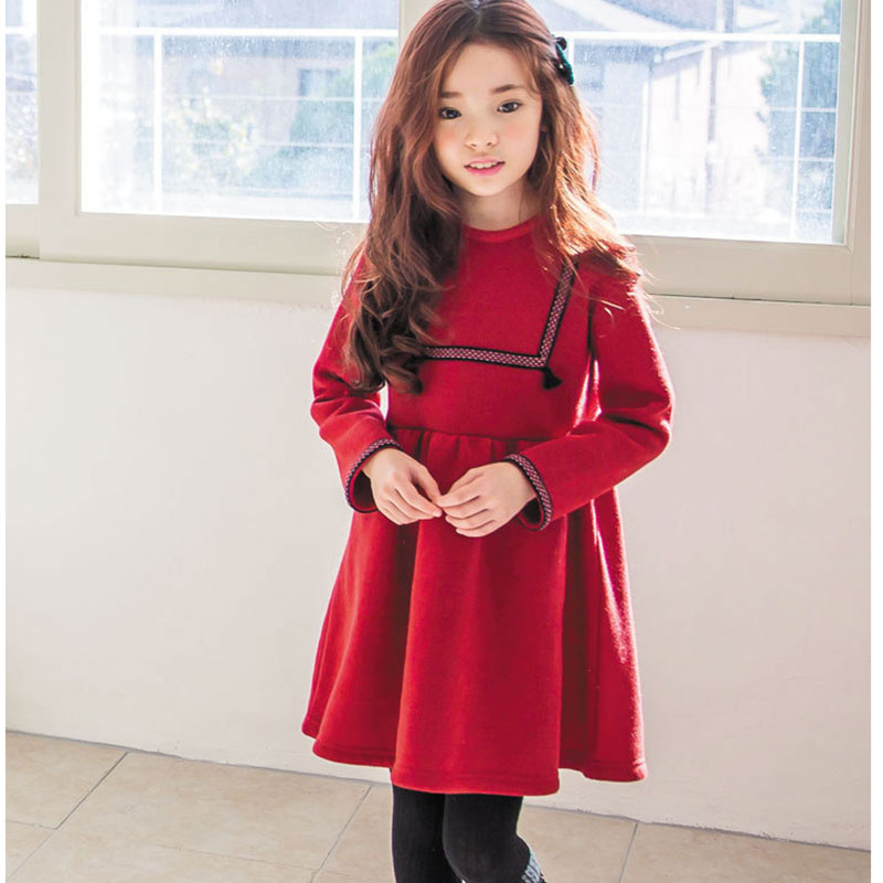 big girls winter dress long sleeve children clothing princess little girls dresses winter christmas a line red grey kids clothes girls europe and the united states children s wear red princess long sleeve princess dress child kids clothing red bow lace