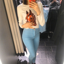 Fashion high waist Women jeans Stretch Skinny jeans Female calca jeans slim Pencil pants black Denim Ladies pants C0455