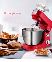 Chef machine Household Stand/Table mixer 4L Dough mixer Dough kneading machine 6 speed Cream/Egg beater 220V