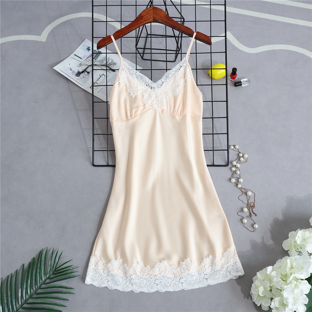 Sexy Women   Nightgowns   with Chest Pads Satin Sleepwear Silk Nightwear Strap   Sleepshirts   Lace   Nightgowns   Sleep & Lounge