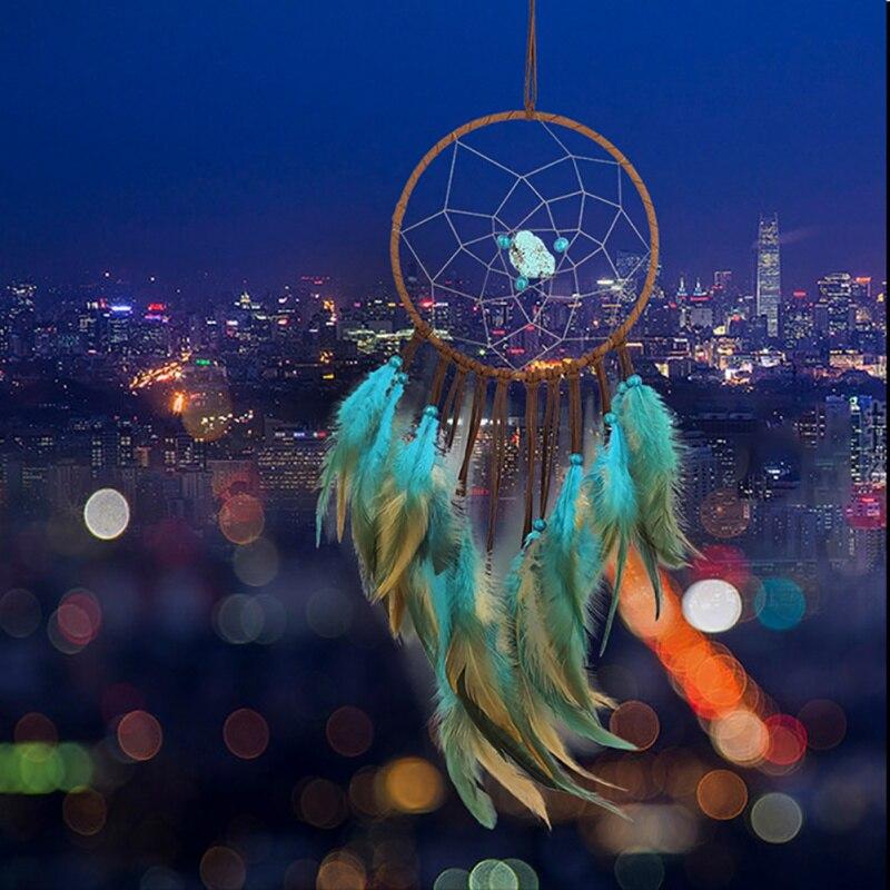 Blue Green Gemstone Dream Catcher Indian Hanging Decor Dreamcatcher For Kid Bedroom Home Gift