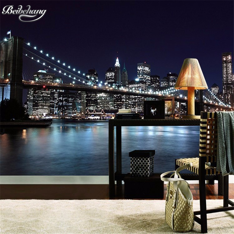 Beibehang Custom 3D photo wallpaper city night cover mural 3D living room bedroom background wallpaper for walls 3 d tapety beibehang golden fountain fair 3d photo wallpaper mural living room bedroom corridor tv background wallpaper for walls 3 d