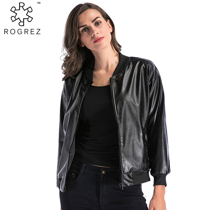 ROGREZ Black Leather Jacket For Women Long Sleeve Slim Zipper Outerwear Female Moto Biker Winter Coats