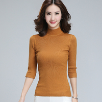 2016 New Women S Clothing Simple Fashion Turtleneck Pullover Sweaters Three Quarter Sleeve Elastic Slim Basic