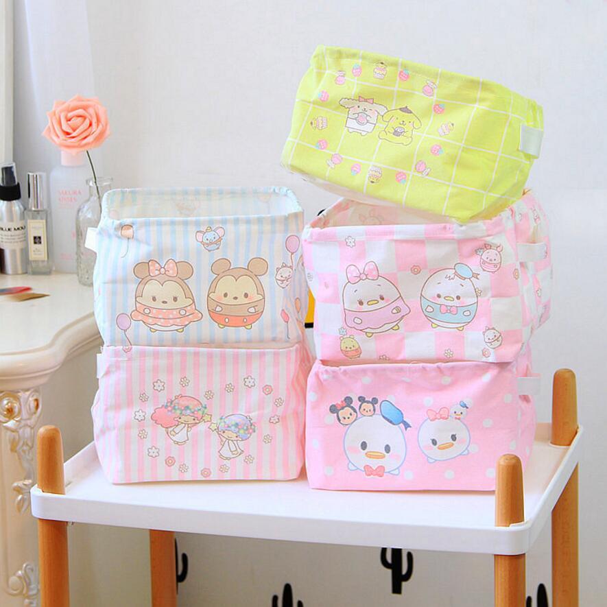 New Cartoon Makeup Cosmetic waterproof Storage Box Kids Toy Organiser Foldable Container desktop debris Storage Basket AU855