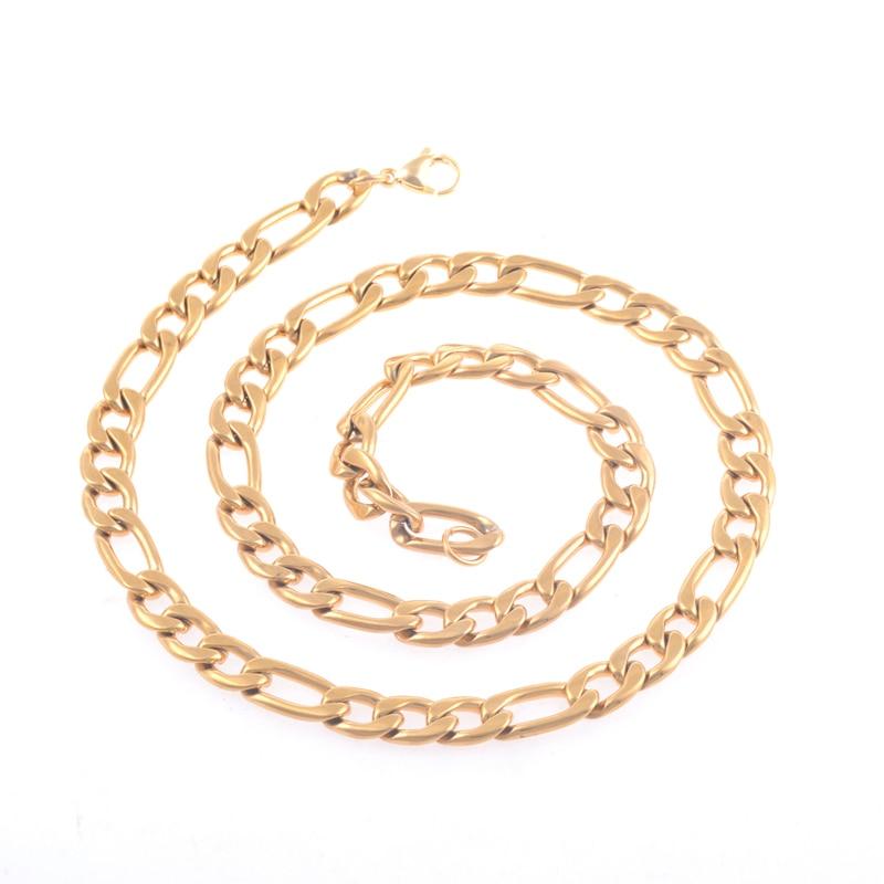877a7f5dbbb7 Oro 316L Acero inoxidable 3 1 NK collares Figaro enlace cadenas hombres  Womwn joyería regalos de Navidad de lujo en Collares de cadena de Joyería y  ...