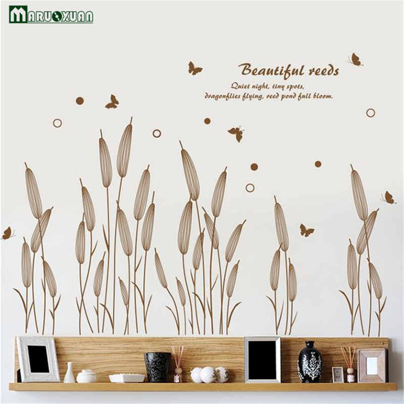 Maruoxuan New Removable Green Wall Stickers Living Room Home Decoration Paste Abstract Reed Grass Wall Decals