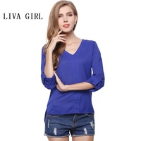 Top Fashion Rivets Women Shirts 2017 European Ladies Blouse Sexy V Neck Loose Shirt Solid Color