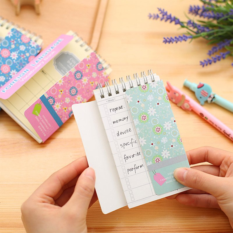 South Korean Language Learning Manual Book Creative Stationery Memory Barrier  Small English Words Coil Book