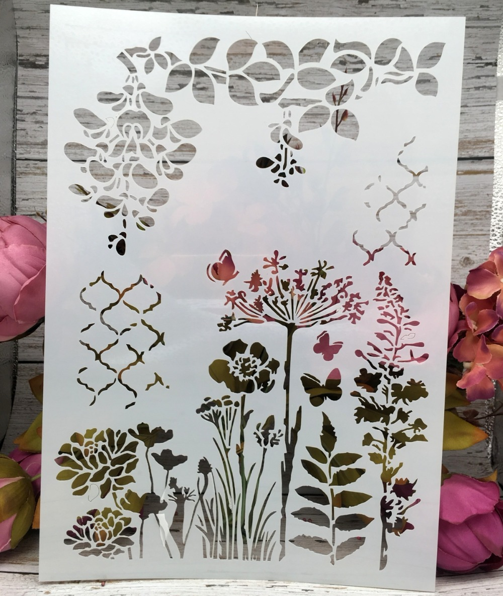 A4 Butterfly Flower Leaf DIY Layering Stencils Wall Painting Scrapbook Coloring Embossing Album Decorative Paper Card Template