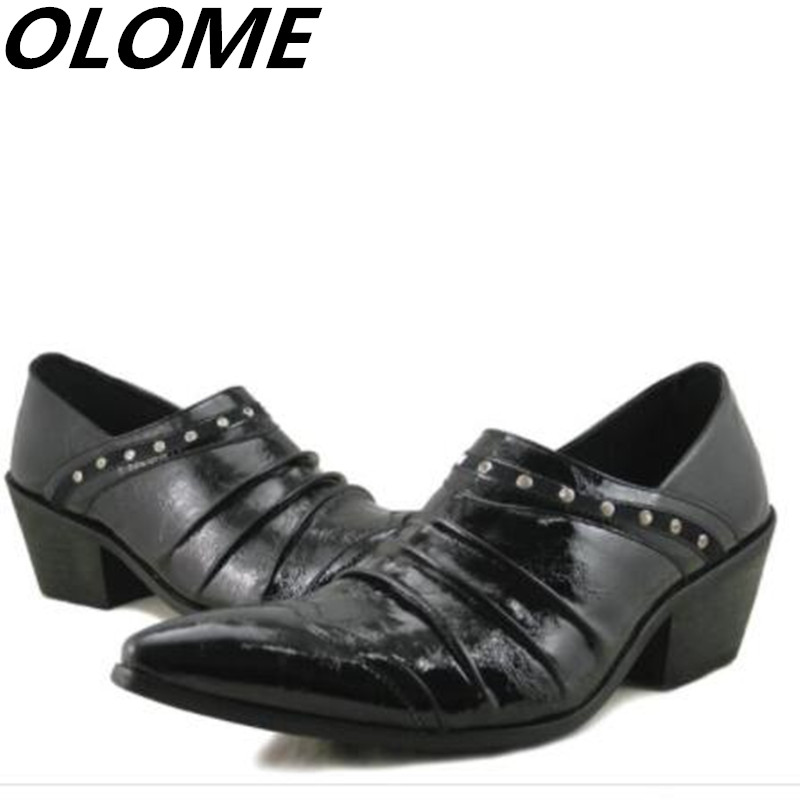Mens patent leather black shoes spiked loafers high heels british hidden heel oxford shoes for men office business male shoes Mens patent leather black shoes spiked loafers high heels british hidden heel oxford shoes for men office business male shoes