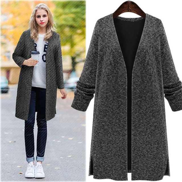 Autumn and winter new V-neck long-sleeved knitted cardigan large size women loose knitted black coat AL7810