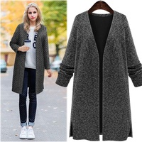 Autumn and winter new V neck long sleeved knitted cardigan large size women loose knitted black coat AL7810
