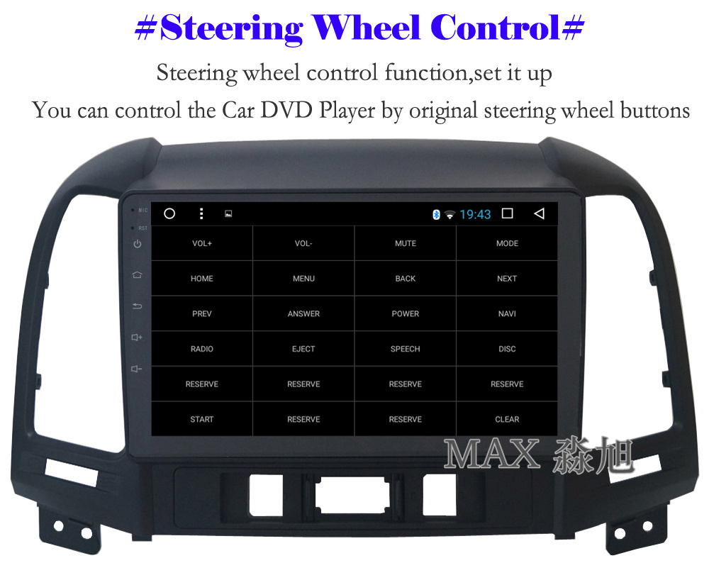 Top MAX Android 8.1 2G 32G 8 Core Car DVD Player for Hyundai santa fe 3/4holes with 2.5D+IPS Screen car stereo radio RDS Maps swc 10