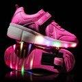 Crianças luminosas shoes com luzes led crianças shoes rodas com rodas caçoa as Sapatilhas com Led Light Up para Meninos Meninas Azul Rosa