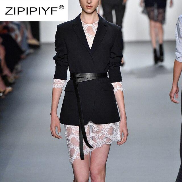 2018 Autumn Fashion Streetwear Skirt Suit Turn down Collar Blazer Coat +Irregular Lace Mini Skirt Two Piece Women Sets C3273