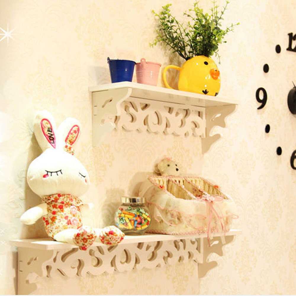 White Wall Hanging Shelf Rack Goods Convenient Storage Holder Home ...