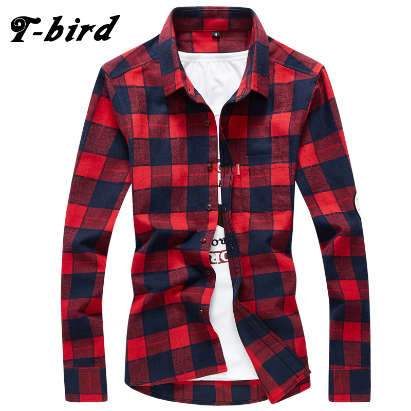 T-bird 2017 Men New Brand Plaid Shirt Camisas MenS Fashion Plaid Long-Sleeved Male Comfortable Casual High Quality Shirt 4XL