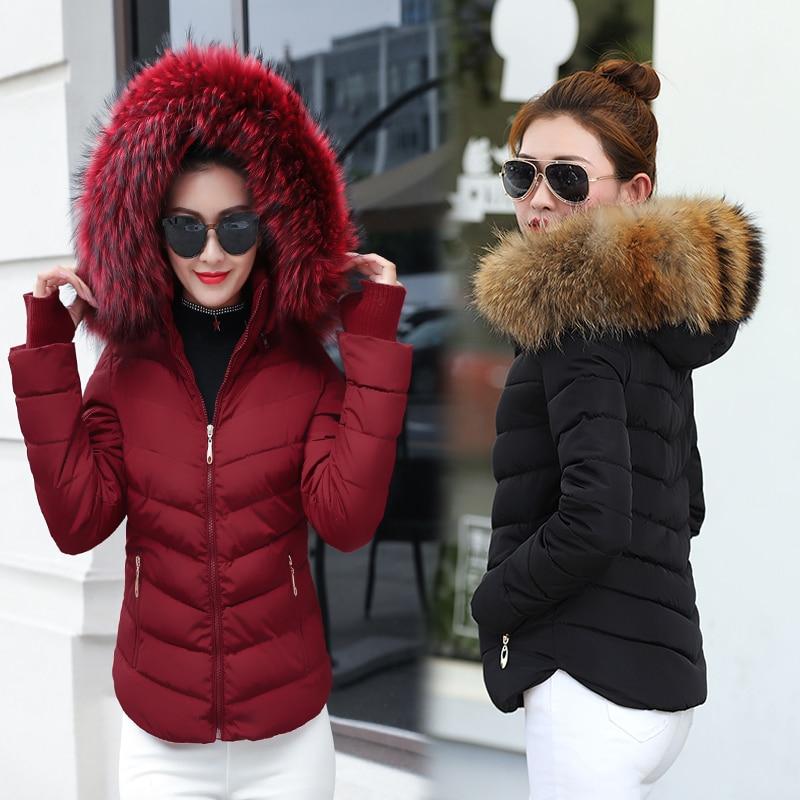 Winter Jacket Women Parkas For Coat Fashion Female Down Jacket With A Hood Large Faux Fur Collar Coat 2019 Autumn Outwear Ladies
