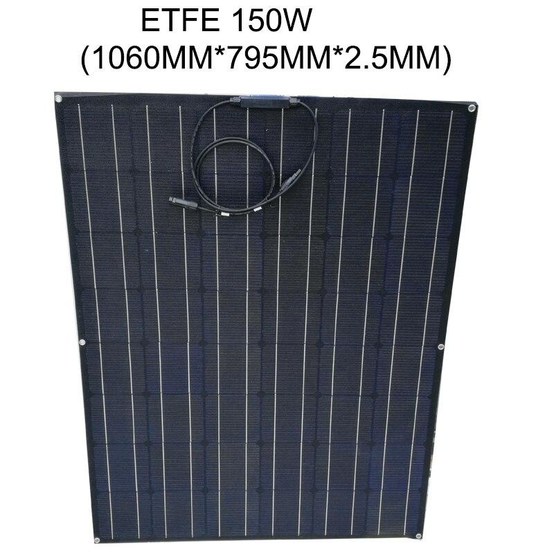 Panneau solaire 150 w ETFE Flexible panneau solaire 24 v Mono cellule solaire Batterie Solaire Pour Voiture/Yacht/ bateau à vapeur