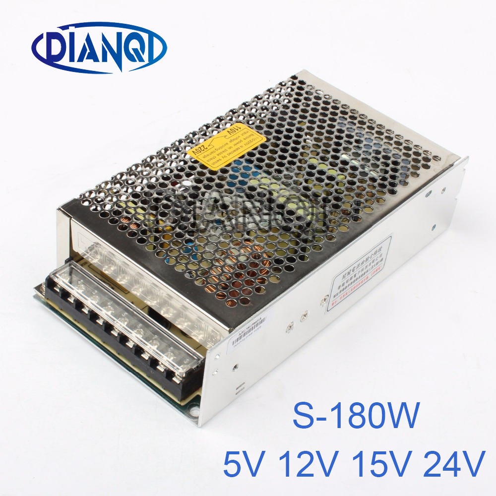 5V 13.5V 24V power suply 12v 180w ac to dc 15A Switching Power Supply for LED Strip light output s-180-12  Input 220v or 110V switching power supply 720w dc 12v 60a 110 or 220v ac to dc12v smps for led strip display light cnc cctv free shipping