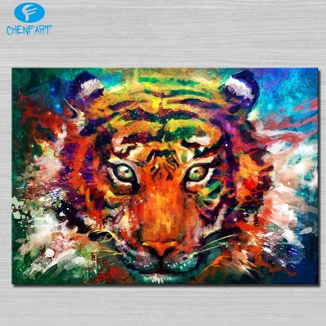 Trippy tiger Painting wall picture Abstract Art wall ...