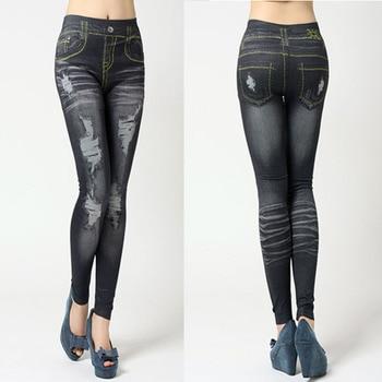 1d3448fe9e 2019 Otoño e Invierno señoras Jeggings ajustados Vintage elástico polainas  de las mujeres Legging negro pantalones vaqueros