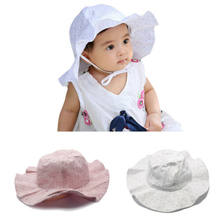 Summer Outdoor Baby Hat Cap Infants Baby Girls Kids Straw Sun Caps Beach Hat loral Beach Bucket Muts for Caps 0-3Y pink white(China)