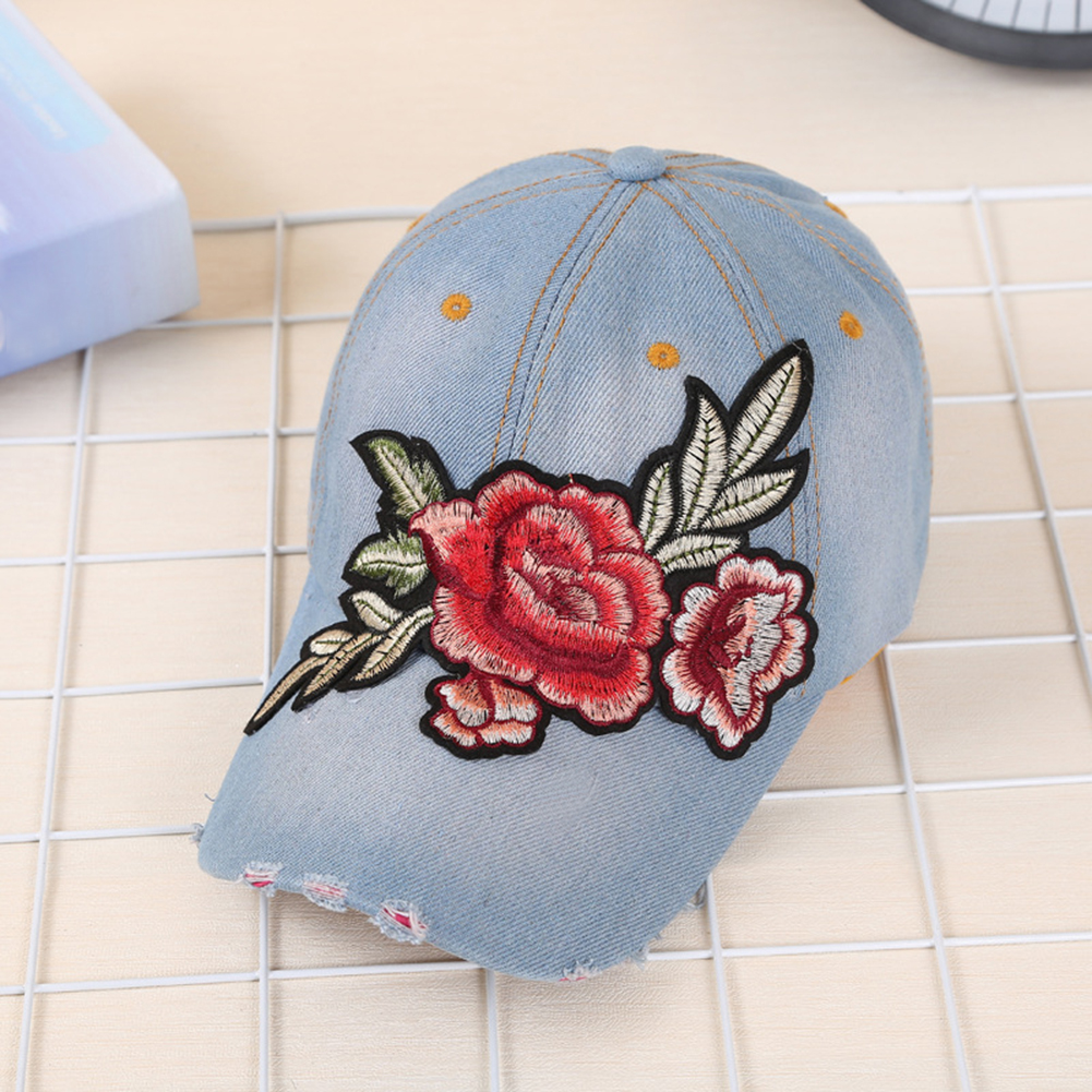 Adjustable Size Embroidery Rose Flower Washed Denim Cap Women Baseball Cap Jeans Snapback Summer Sun Hat Apparel Accessories New