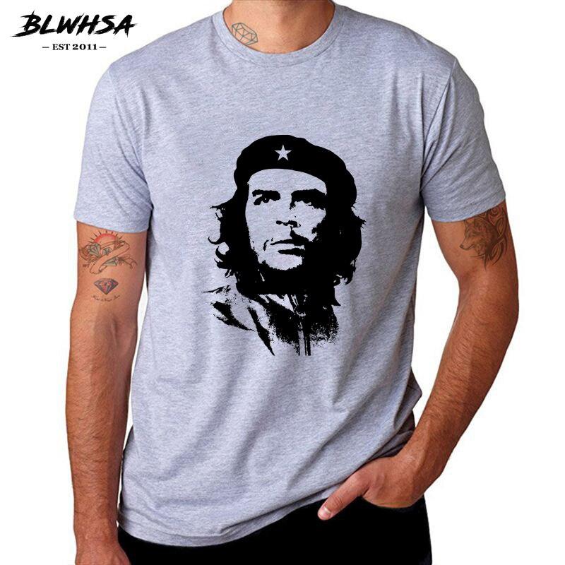 BLWHSA Che Guevara Hero Hommes T Shirt de Haute Qualité Imprimé 100% Coton À Manches Courtes T-Shirts Hippie Motif T Cool Hommes vêtements