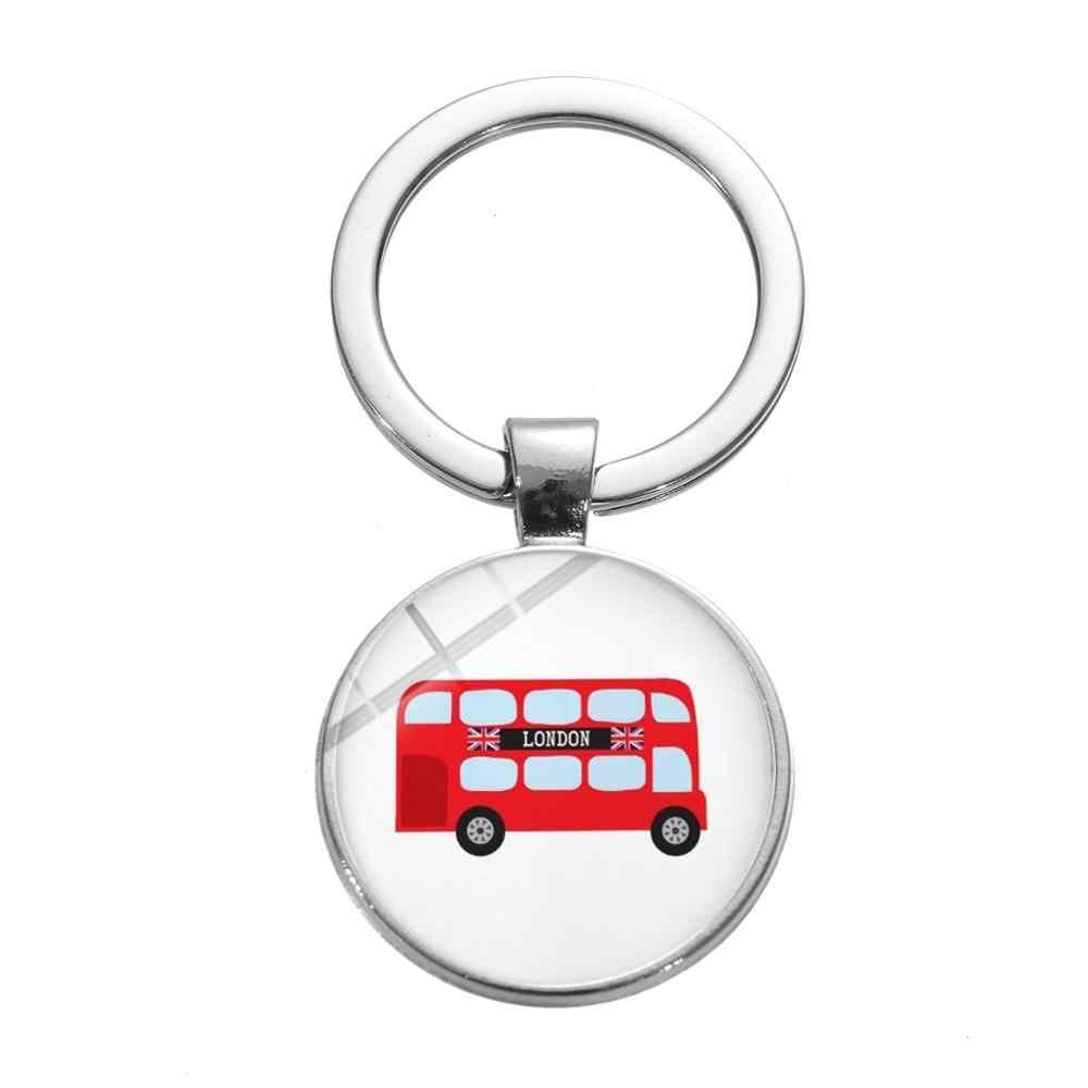 SIAN Old-fashion London Double Decker Bus Keychain Creative Art Photo Glass Gem Key Ring Souvenir Gift for Friends Car Key Chain