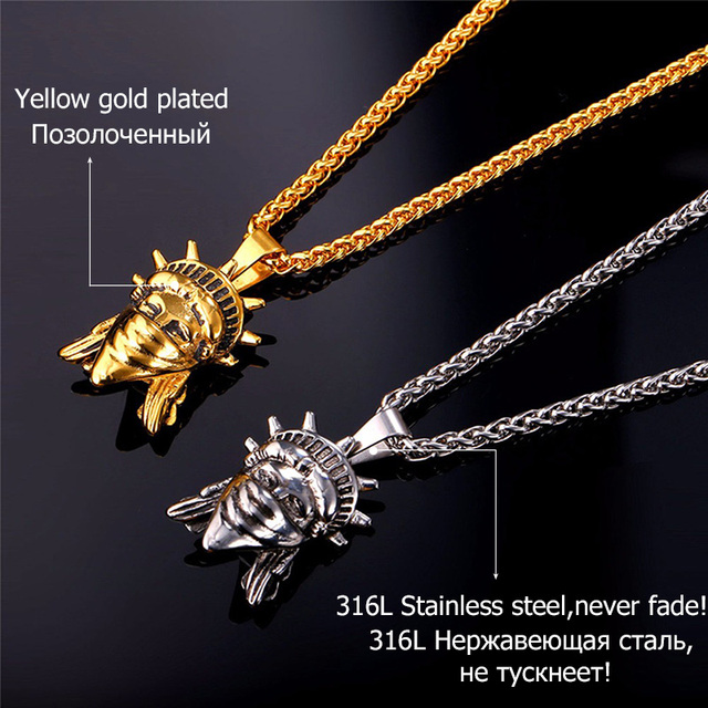 American Rebel Statue Of Liberty Pendant Necklace Gold Color and  Stainless Steel Men/Women