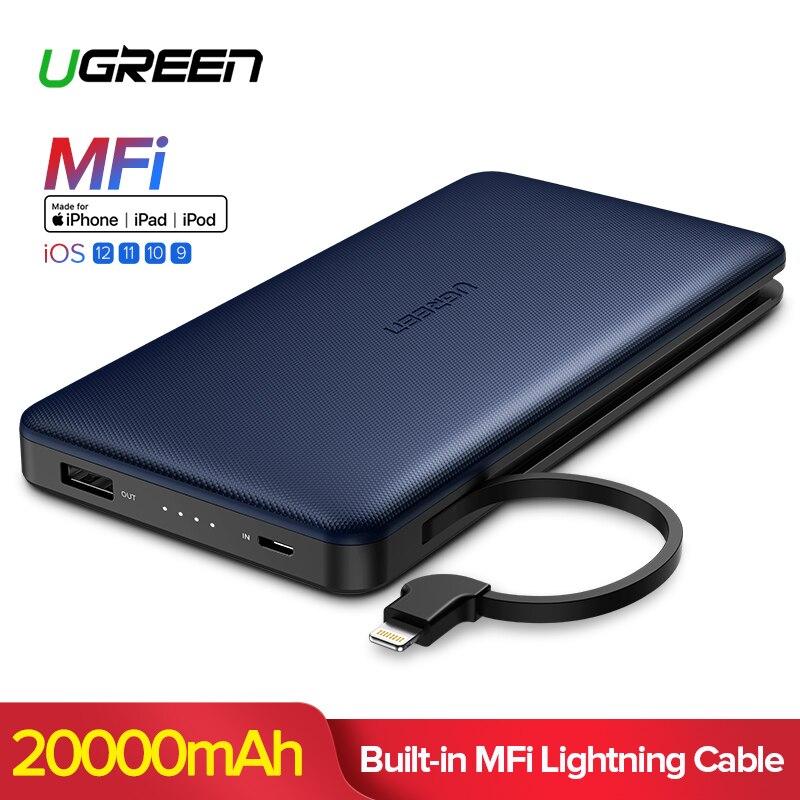 Ugreen 20000 mAh banco de potencia para iPhone Xs Max Xiaomi para rayo Powerbank cargador portátil de batería externa para teléfono Poverbank