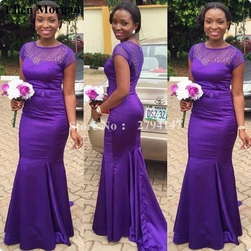 Purple Mermaid Cheap Bridesmaid Dresses for Wedding Party African ...