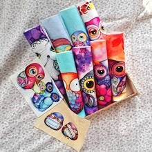 Owl fabric digital printed cloth 20 *20cm/15*20cm thick cotton and linen handmade diy patchwork quilting decora patchwork(China)