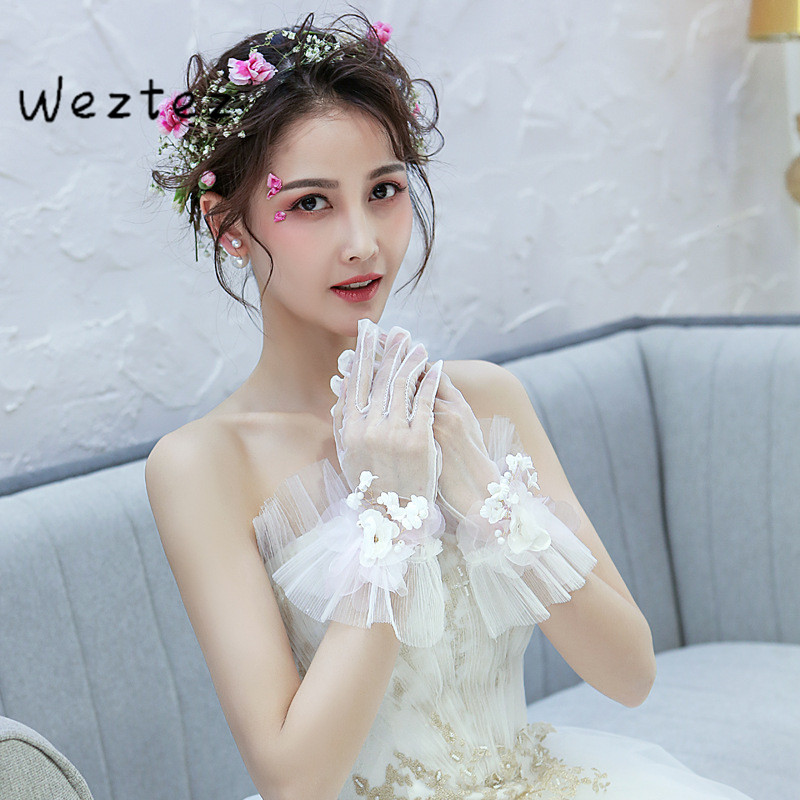 Bridal Wedding Gloves Short All-Finish Lace Lace Gold Flower Embellishment Wedding Accessories Decorations ST034