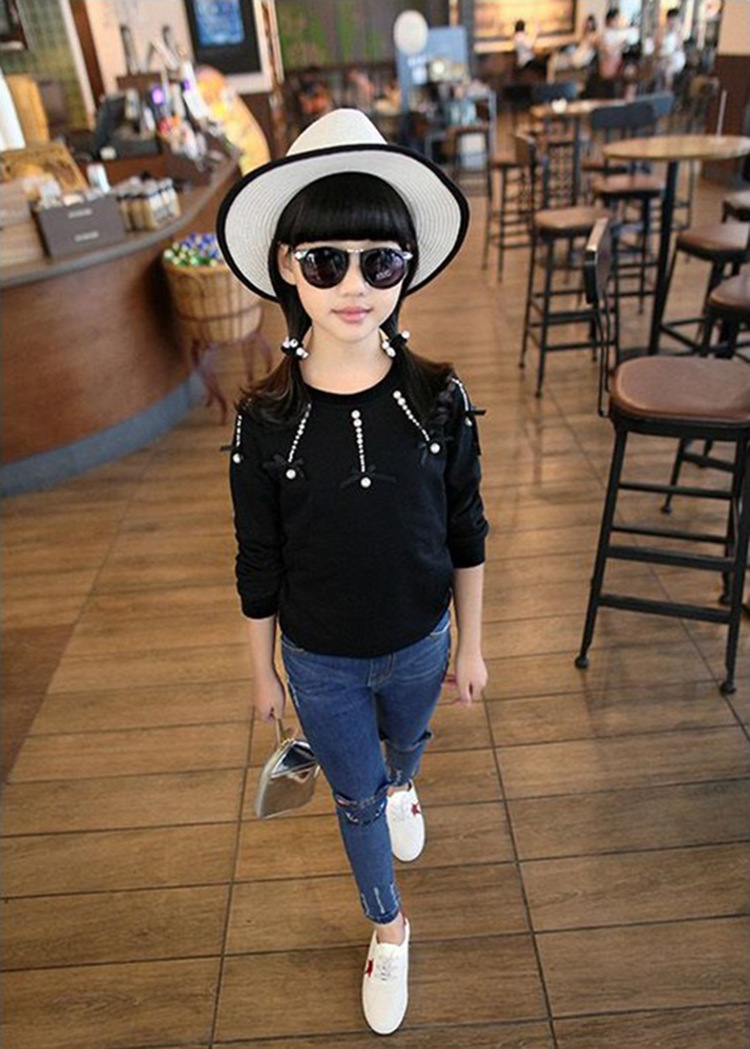 2019 Jeans for girls Korean cat baby pants embroidered jeans  denim trousers children clothing 3-8 Year