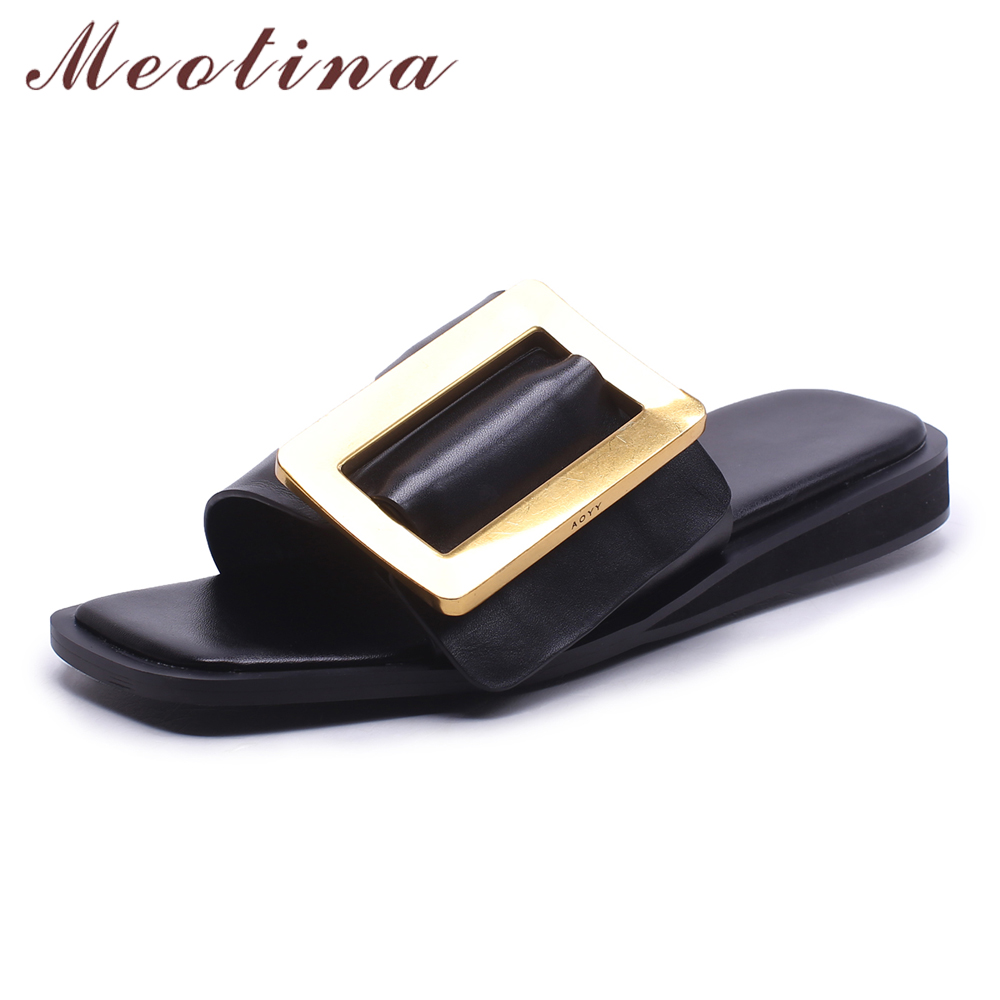 Meotina Real Leather Slippers Women Shoes Natural Genuine Leather Sandals Buckle Casual Shoes Ladies Summer Red