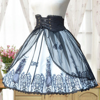 Women Summer Victorian Gothic Lolita Band Waist Skirt Church Medieval Vintage Lacing SK Skirt For Ladies