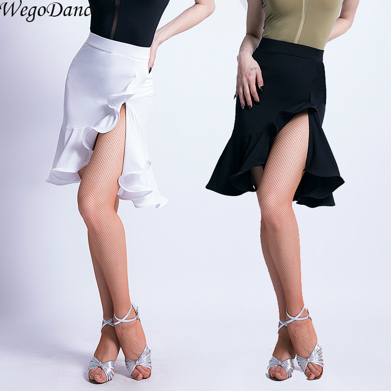 New Woman Latin Dance Skirt Lotus Leaf Dance Clothing Open Fork Practice Suit With Underpant
