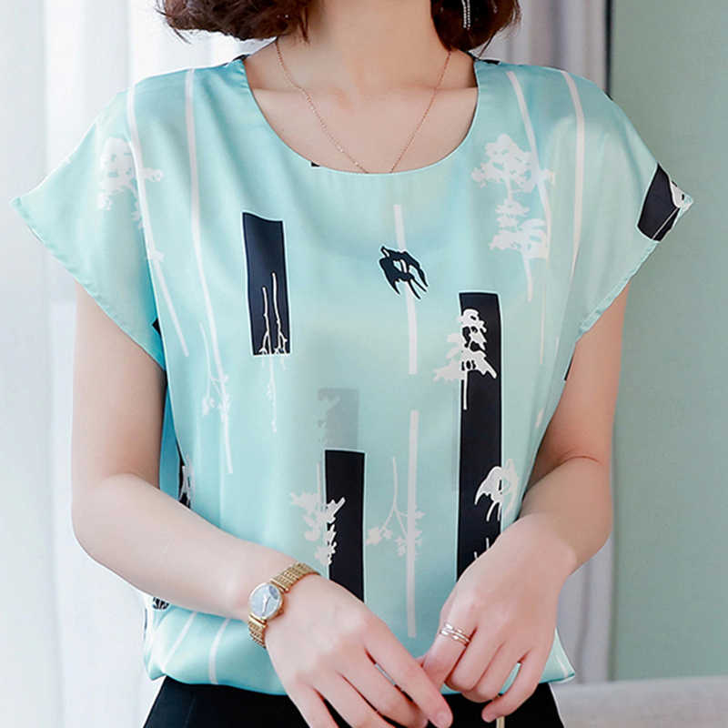 Korean Fashion Silk Women Blouses Womens Tops and Blouses Satin Women Short Sleeve Shirts White Ladies Tops Plus Size XXXL/4XL